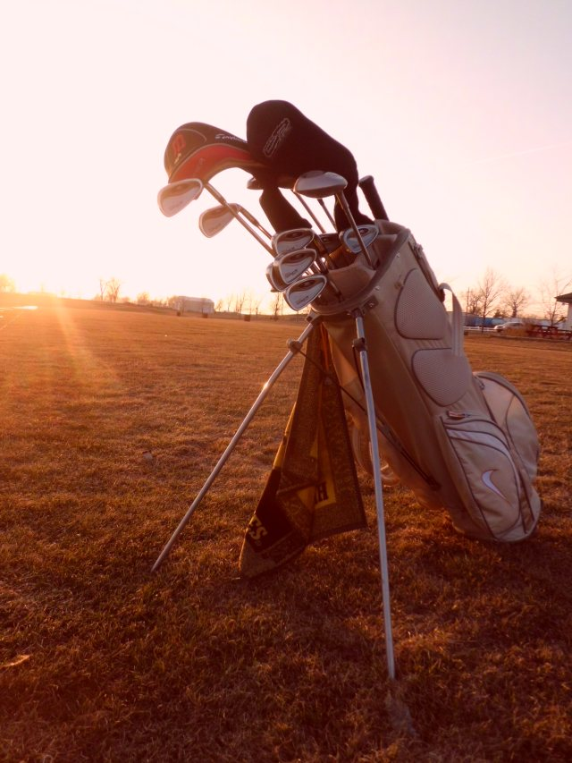 Golf bag as the sun sets