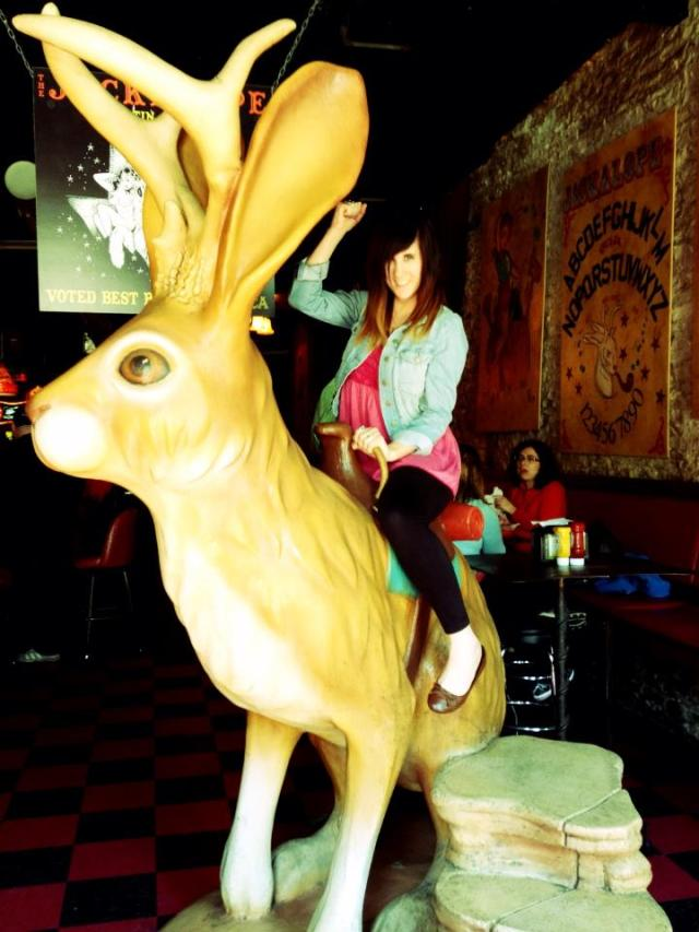 Megs riding the Jackalope!