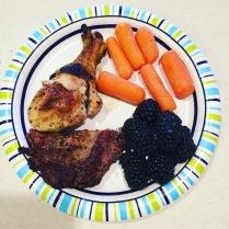 Grilled meats + carrots + blackberries